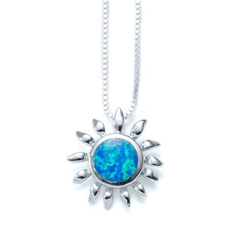 blue opal necklace blue opal sun necklace landing company