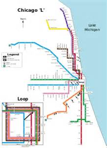 Chicago El Map Blue Line by Chicago Transit Authority Chicago L Route Map