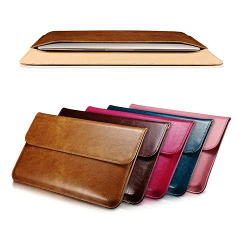 Leather Sleeve Macbook 13 luxury genuine leather sleeve for apple macbook air 11 13 laptop sleeve pouch cases for mac book