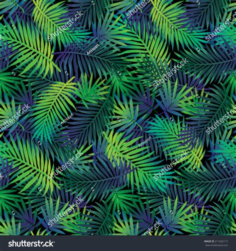 jungle pattern texture seamless tropical jungle floral pattern palm stock vector