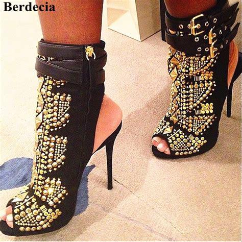 Black and Gold Bootie Heels