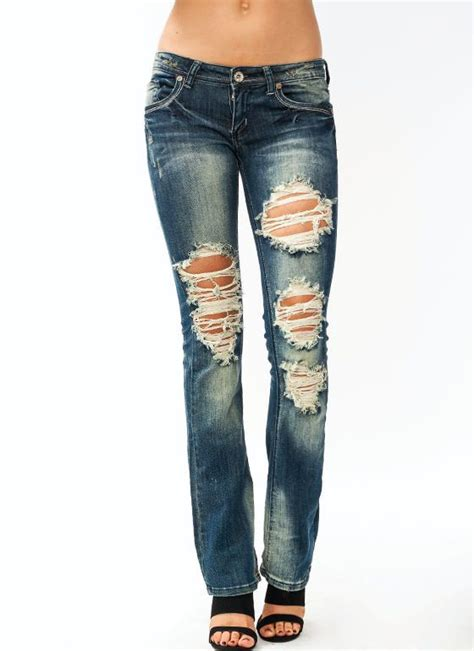 Destroyed Bootcut Jeans for Women