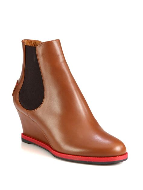 Fendi Leather Wedge Ankle Boots