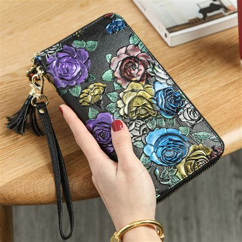 Flower Leather Wallet Women