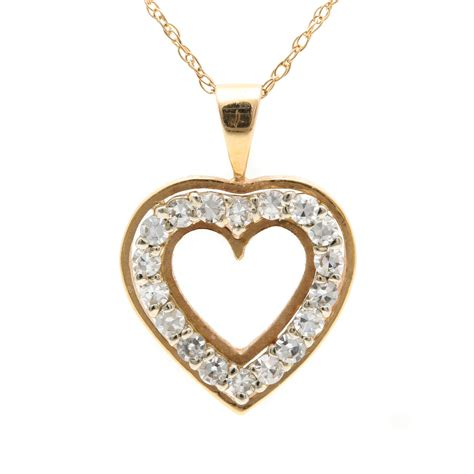 Gold Heart Pendant with Diamonds