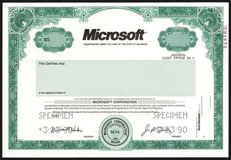 MS Stock Certificate