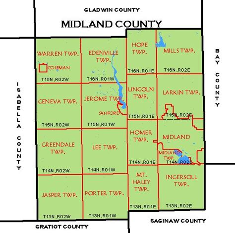 Midland County Township Map