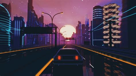 Neon City Background Stock