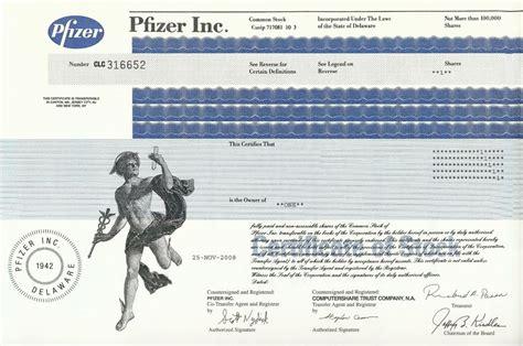 Pfizer Stock Certificate