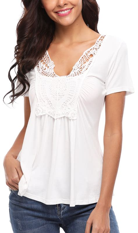 Ruched White Blouse for Women