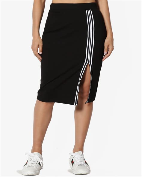 Slit Stripe Pencil Skirt