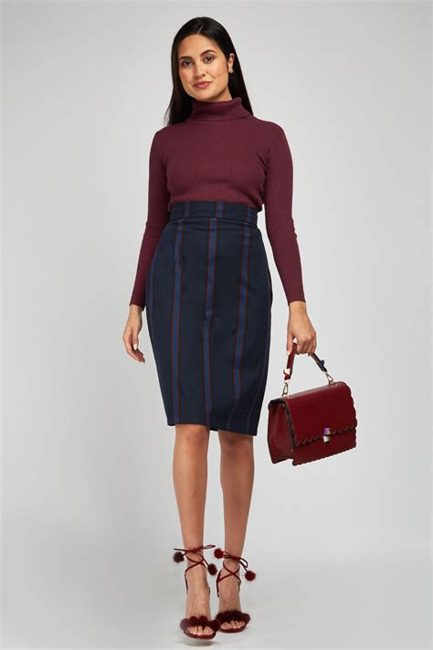 Vertical Striped Pencil Skirt