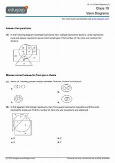 year 10 math worksheets and problems venn diagrams edugain australia