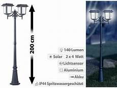 gartenlaterne mit bewegungsmelder lunartec 2 flammige solar led laterne 140 lm 2x 4 w