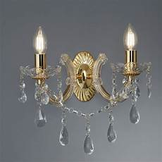 marie therese 2 l crystal wall light in black marie therese 2 light wall bracket polished brass