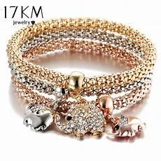 17km New 3pcs Gold Color Owl Charm Bracelets For