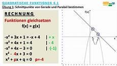 gerade schneidet parabel schnittpunkte berechnen pq