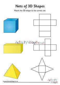 nets of 3d shapes worksheet 1