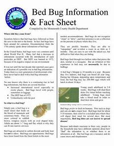 bed bug information fact sheet monmouth county