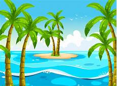 Gratis Malvorlagen Regenschirm Island Szene Mit B 228 Umen Auf Der Insel Kostenlos Vector