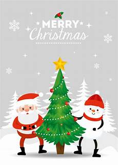 merry christmas card with santa claus and snowman in winter landscape vector free download