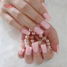 fashion flat false nails clear light pink nail tips