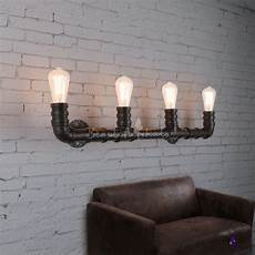 industrial style 27inches wide 4 light large pipe led wall sconce beautifulhalo com
