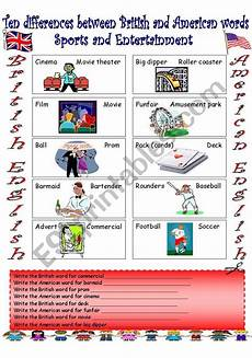 sports and entertainment worksheets 15790 vs american 1 sports and entertainment esl worksheet by sldiaz