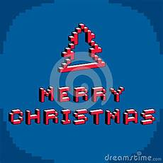 merry christmas phrase created in digital technology style vector 8 bit christmas tree