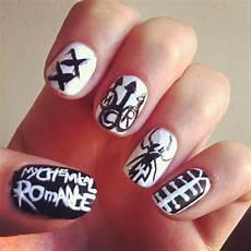 my chemical romance nails nail art band nails mcr emo