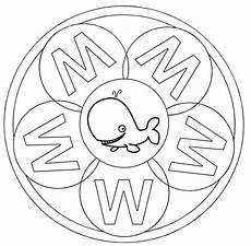 kostenlose malvorlage mandalas mandala buchstabe w zum