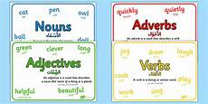 nouns adjectives verbs and adverbs with definition