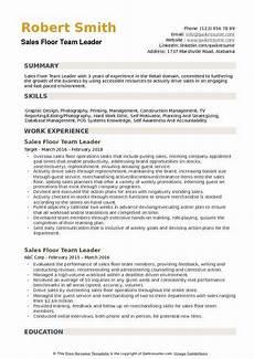 sales floor team leader resume sles qwikresume