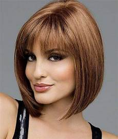 bobs hairstyle for woman over 50 with bangs medium short