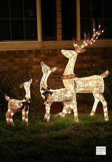 Reindeer Decorations Outdoor by Lighted Reindeer Outdoor Decorations