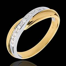 yellow gold miria wedding ring white gold pavement setting 7 diamonds carats edenly