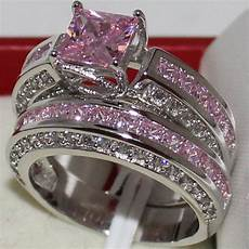 mmdgem eternity engagement s 925 sterling silver princess cut pink zircon stone cz prong