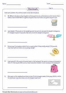 decimals word problems worksheets grade 4 7458 decimal word problems worksheets