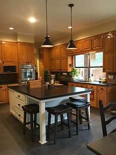 updated kitchen with new white island original honey oak