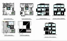awesome sketch plan for 3 three story house all sided elevation and floor plan cad