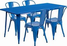 31 5 63 rectangular blue metal indoor outdoor table with 4 stack chairs et ct005 4 30
