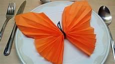 Servietten Falten Schmetterling Einfache Diy Tischdeko
