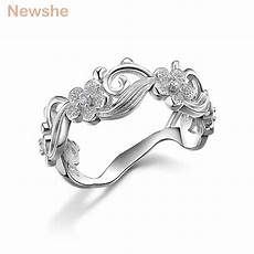 aliexpress com buy newshe flower design solid 925 sterling silver wedding ring for
