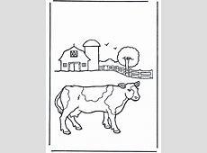 Koe bij boerderij   Huis en boerderijdieren