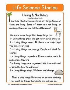 reading comprehension worksheet living nonliving with