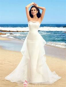 ruffled strapless ivory beach wedding dress lunss