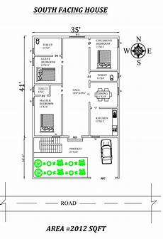 south facing vastu house plans 35 x41 3bhk south facing house plan as per vastu shastra