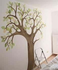 Selbstgemalter Baum Babyzimmer Wandgestaltung Kinder Zimmer