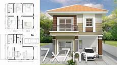 house plannings home design plan 7x7m with 3 bedrooms youtube