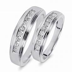 3 8 carat t w diamond his and hers wedding band 10k